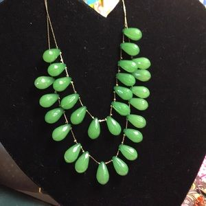 Green Double Strand Beaded Necklace